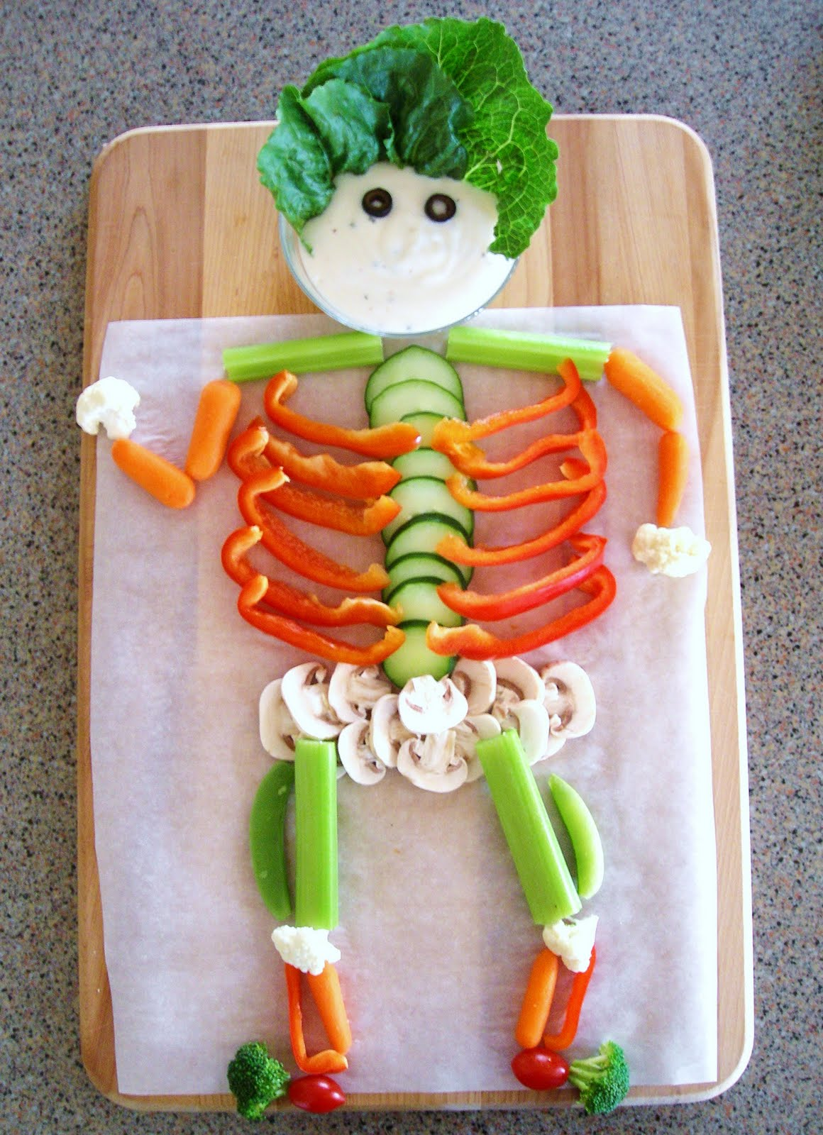 Halloween Skeleton Veggie Tray Easy Homemade Halloween Craft Ideas