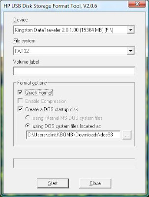 Clint Boessen's Blog: How to make a USB key into a DOS Boot Disk