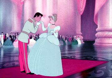 Prince Charming kissing Cinderella's hand