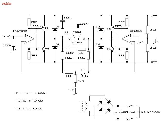 Electronics Circuits: 200W Audio Amplifier