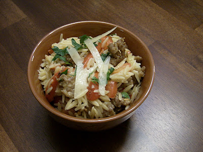 Orzo w/ Sausage, Peppers, Tomatoes