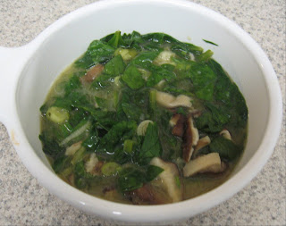 Miso soup with shiitakes and spinach, adapted from Mark Bittman's How to Cook Everything