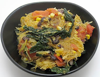 Spaghetti squash with black beans, corn, and kale, adapted from Karina's Kitchen