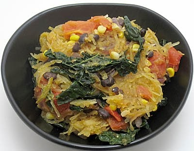 Spaghetti Squash With Black Beans Corn And Kale Recipe