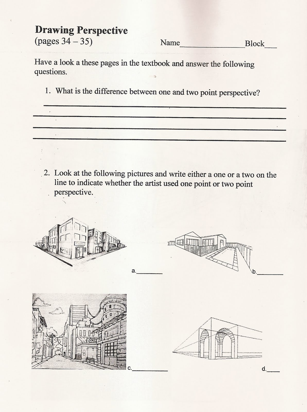 Handouts And Worksheets Perspective Handout Oct 4 7