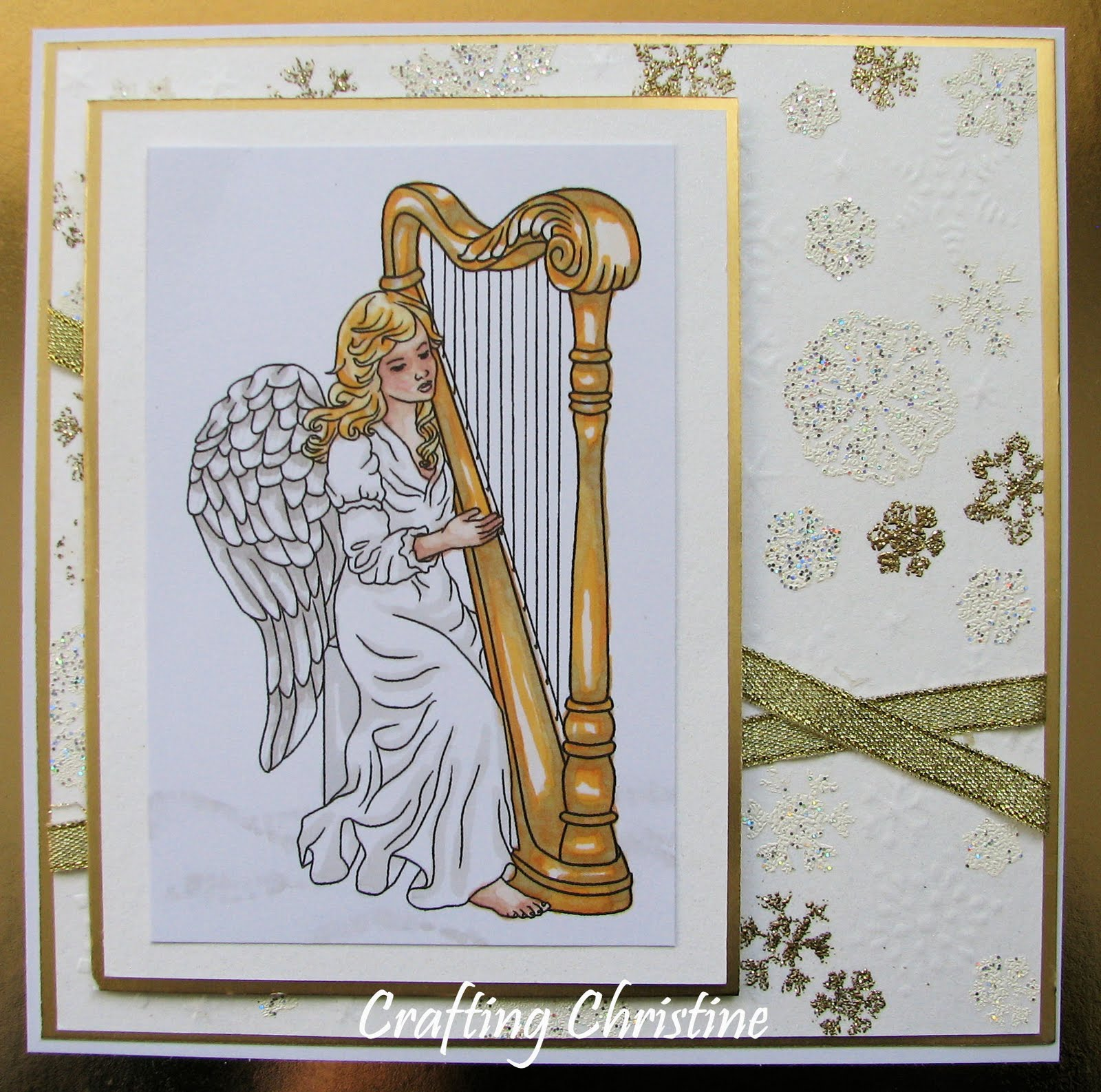 I decided to work with the beautifully elegant 'Angel with Harp' image from
