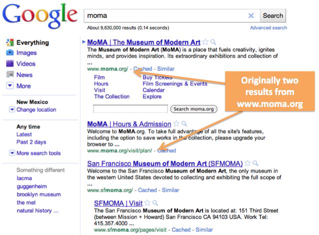 La requête 'moma' sur Google.com avant la mise à jour.