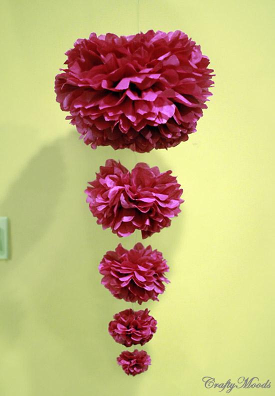 diy garden wedding decorations colourful cascading pom poms. Black Bedroom Furniture Sets. Home Design Ideas