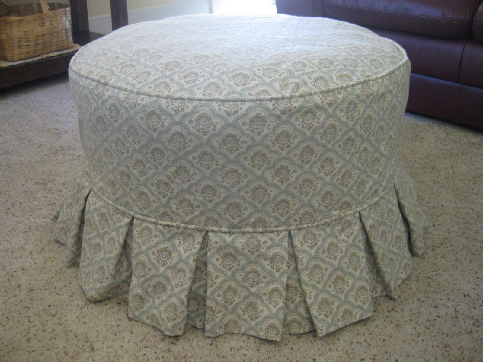 Custom Slipcovers By Shelley Round Ottoman