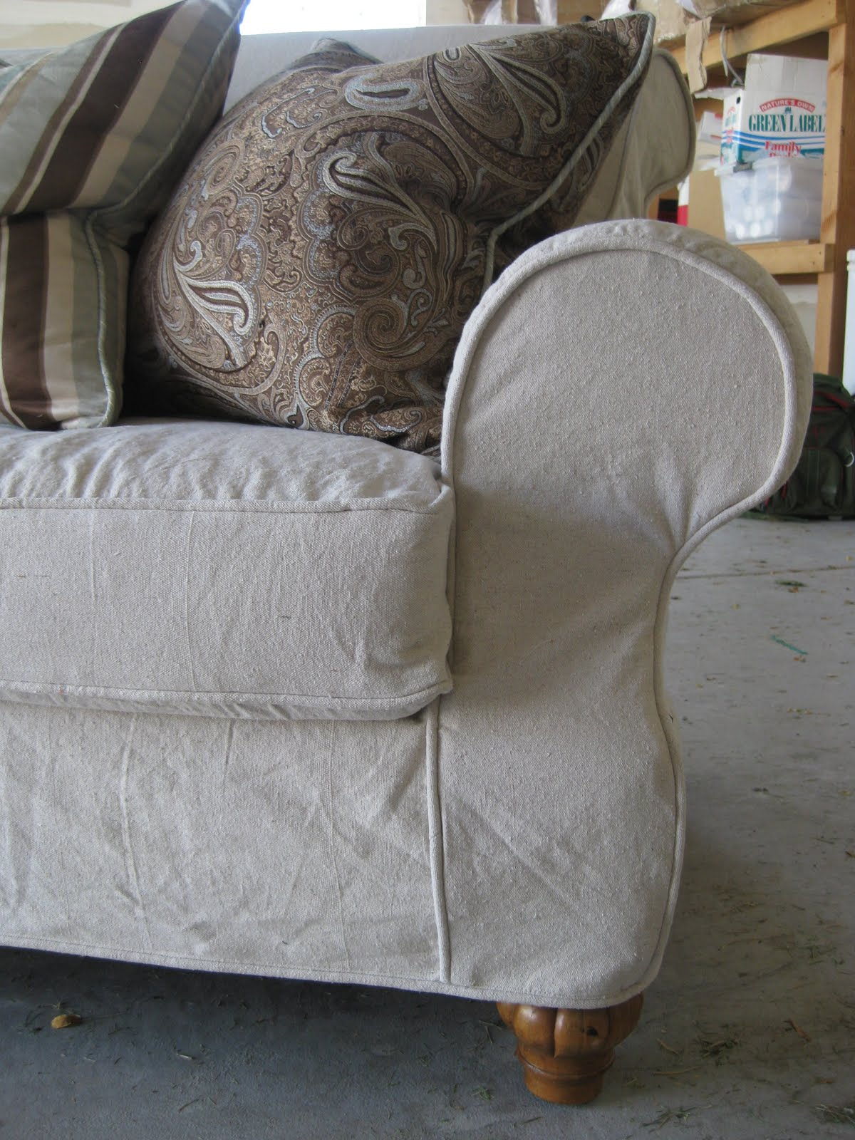 Custom Slipcovers by Shelley Dropcloth couch and chair