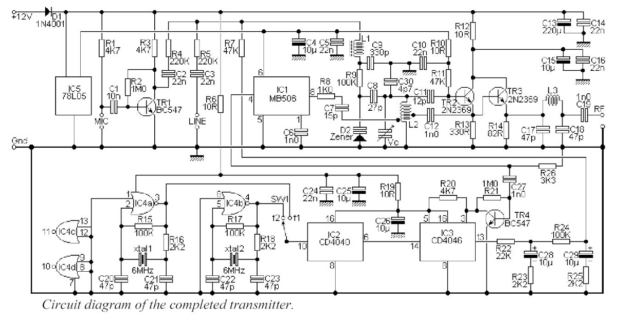 Synthesised WideBand FM Transmitter ~ Circuit Wiring
