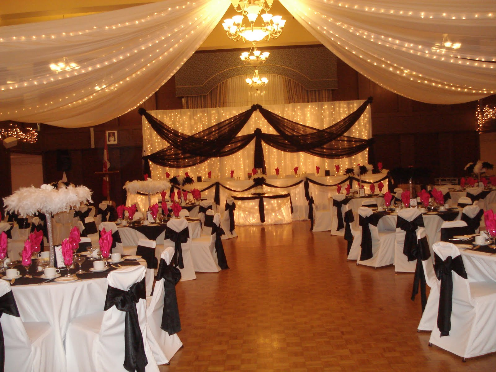 Fabulous Wedding Which Was Decorated For The Event In Black White With Hits Of Fuschia And Lots Feathers