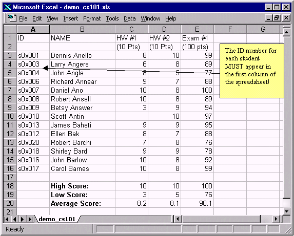 excel spreadsheet for grades