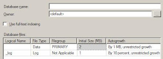 Create Database Dialog