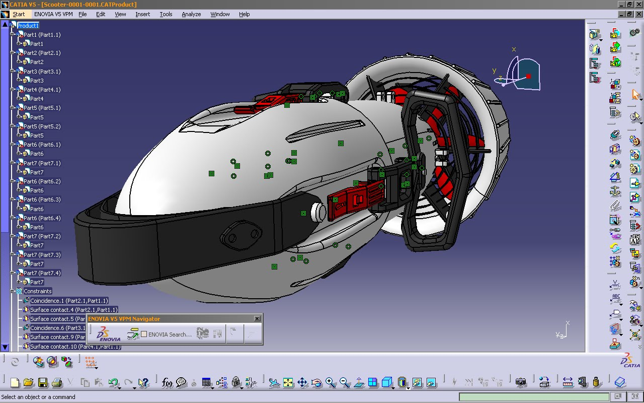 SOLARIS DESIGN's Diver's Scooter In CATIA V5