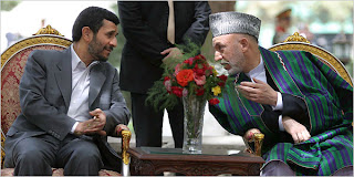 President Mahmoud Ahmadinejad of Iran, left, meeting with President Hamid Karzai of Afghanistan in Kabul
