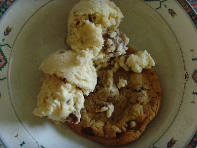 A cookie with scoops of Cookie Dough Ice Cream on top