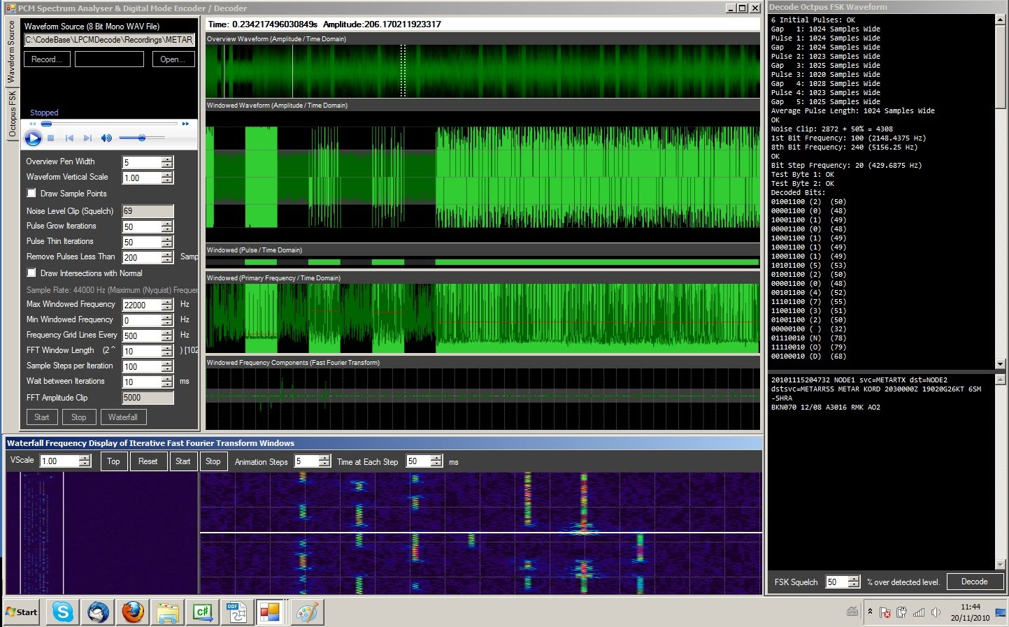 parsecprojects: PCM Spectrum Analyser and Octal FSK Decoder / Encoder