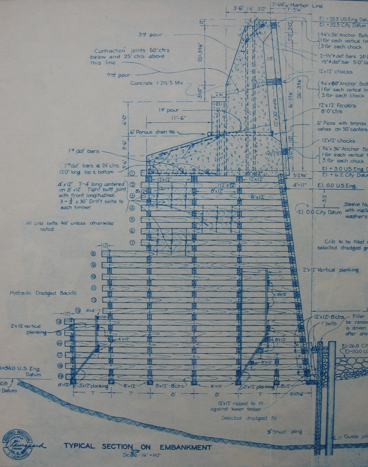 Wall Schematic Engineering Diagram Historical Threads Construction Of Portland Harbor 1927 1929 Willamette River Would Be To The Right Structure