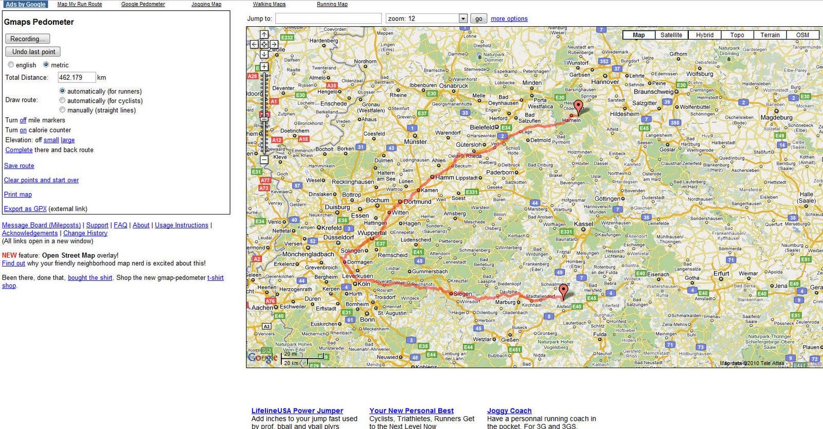 Landkartenblog: Mit Gmap-Pedometer kann man eine Strecke mit ...