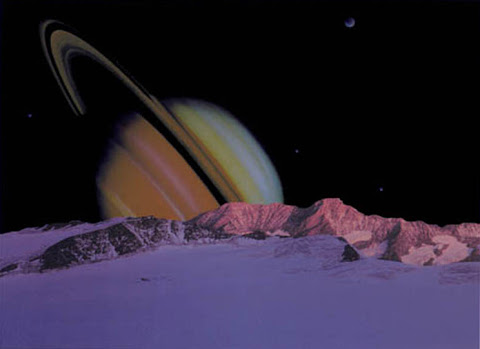 Andrew Stewart Space Art: Saturn and its Moons (Digital Image)