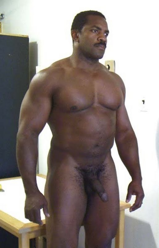 Ethnic black older gay shows cock