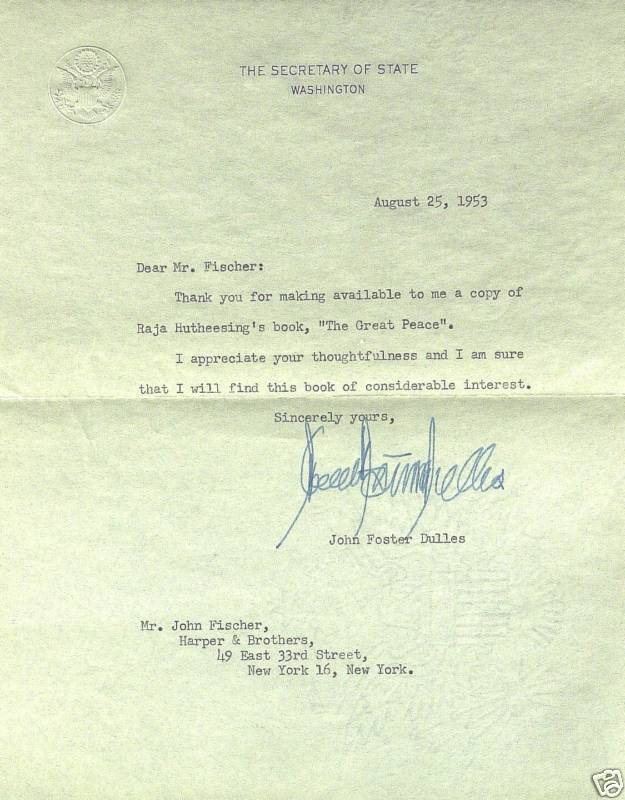 Autograph Value Guide John Foster Dulles