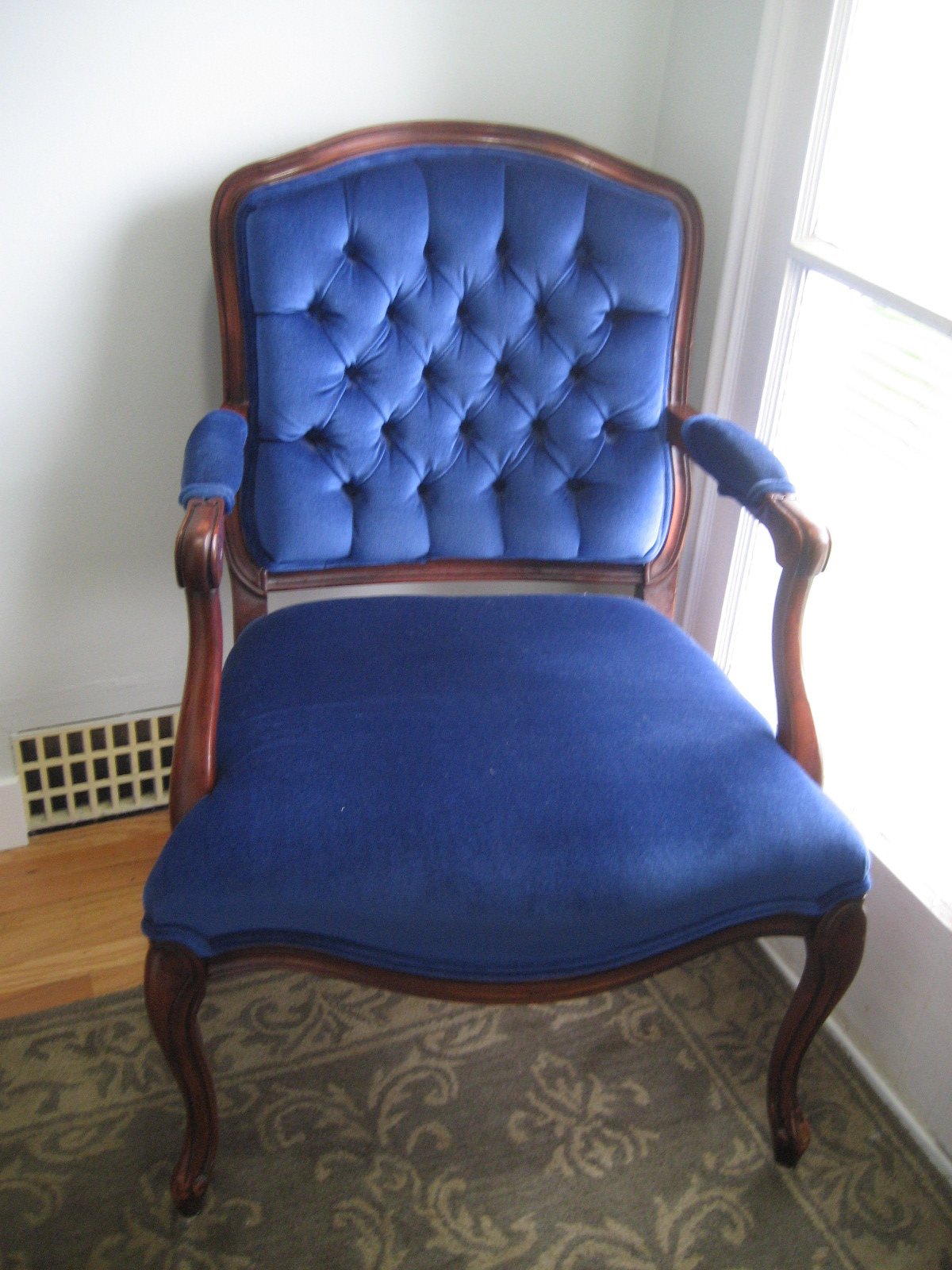 Blue Velvet Chair Six Balloons Vintage Delights Royal Blue Victorian Velvet