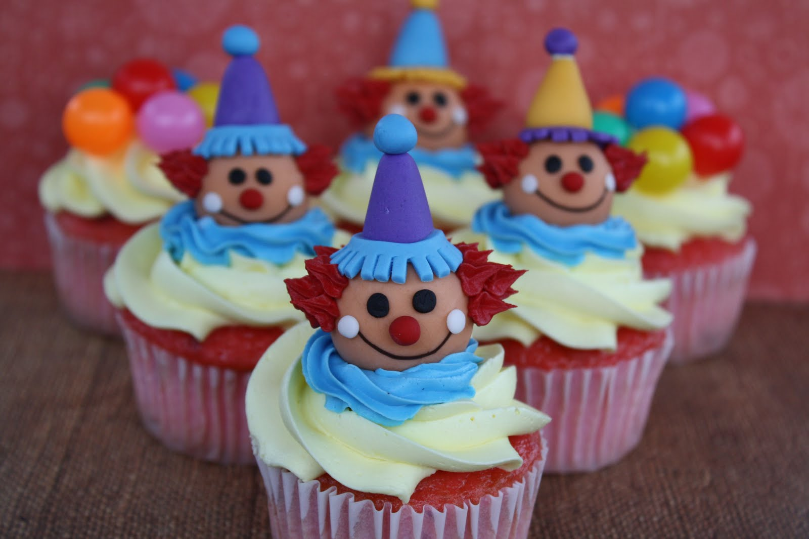 Birthday Cake With Clowns Made Out Of Icing And Balloons
