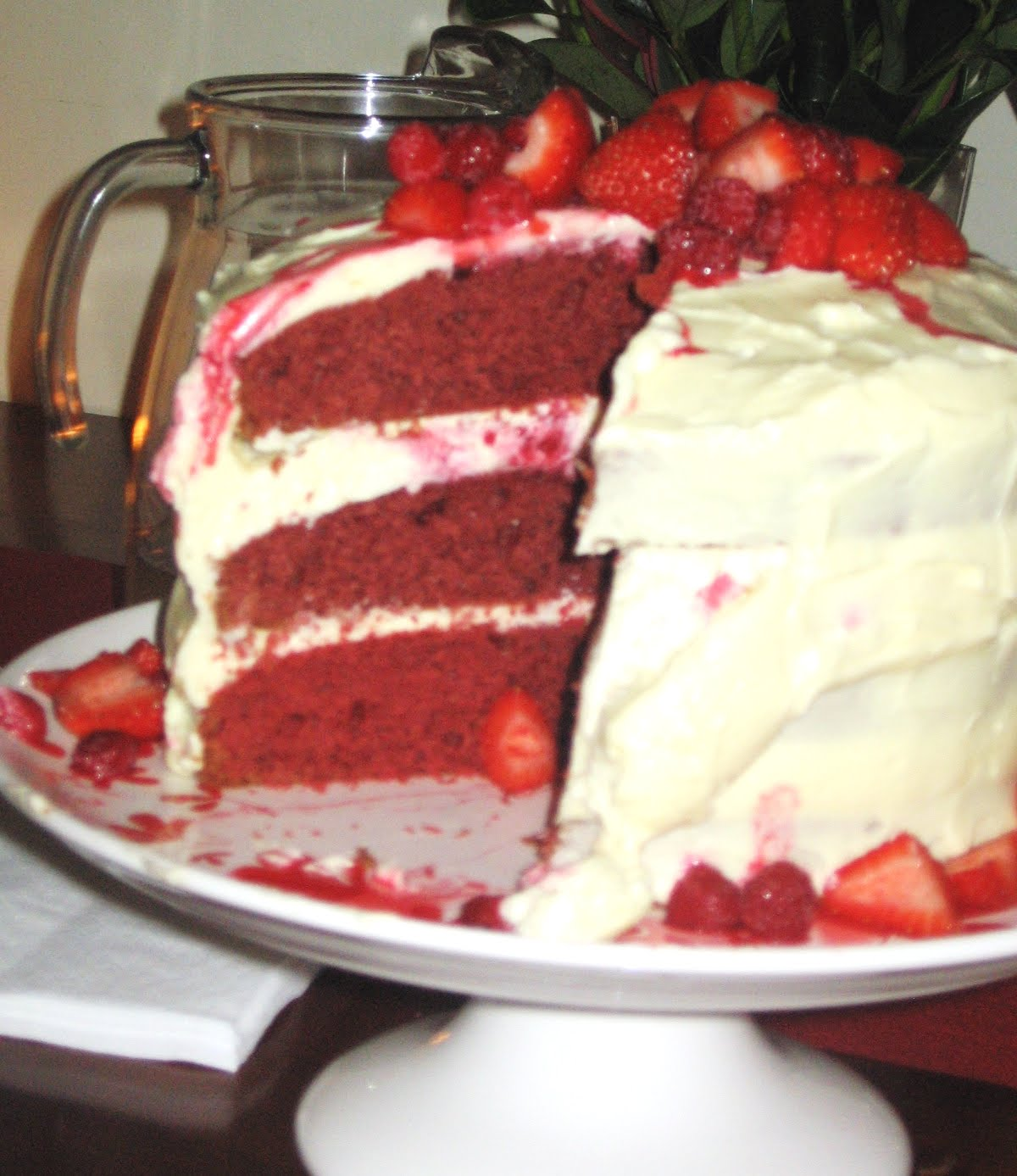 Epicurious Red Velvet Cake With Raspberries And Blueberries