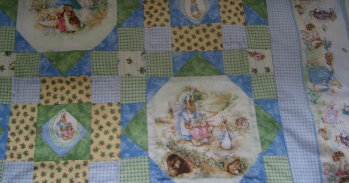 At Home In Frogs Hollow Peter Rabbit Baby Quilt Finished