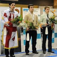 Nepomniachtchi, Jobava y Timofeev en el podio del XI Campeonatos de Europa de ajedrez 2010 Rijeka