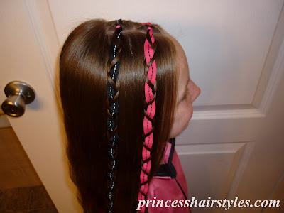 Hairstyles For Girls: Zig Zag Braided Double Ribbon Headband