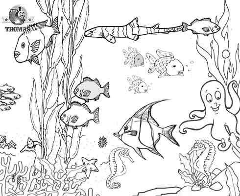 alphabet coloring sheets: Aquarium Marine Tropical Fish ...