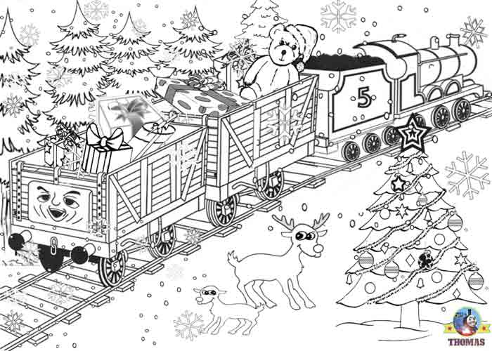 Printable christmas colouring pages for kids thomas winter for Santa train coloring page