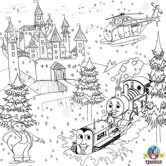 Printable activity sheets Thomas and Harold on a snow covered winter castle colouring pages for kids