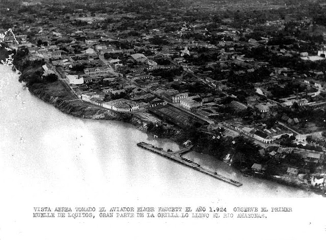 Aerial view of main dock 1924. Photo taken by Elmer Faucett, co-founder of Peru's first airline.