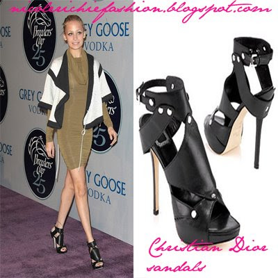 ad7bad5b5c1b Here are those gorgeous Christian Dior Extreme gladiator sandals which Nicole  Richie wore at the Breeders  Cup Winners Circle Gala.