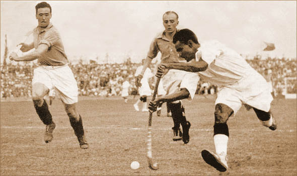 Dhyan Chand playing for India vs. France in the 1936 Olympic Hockey semi-finals