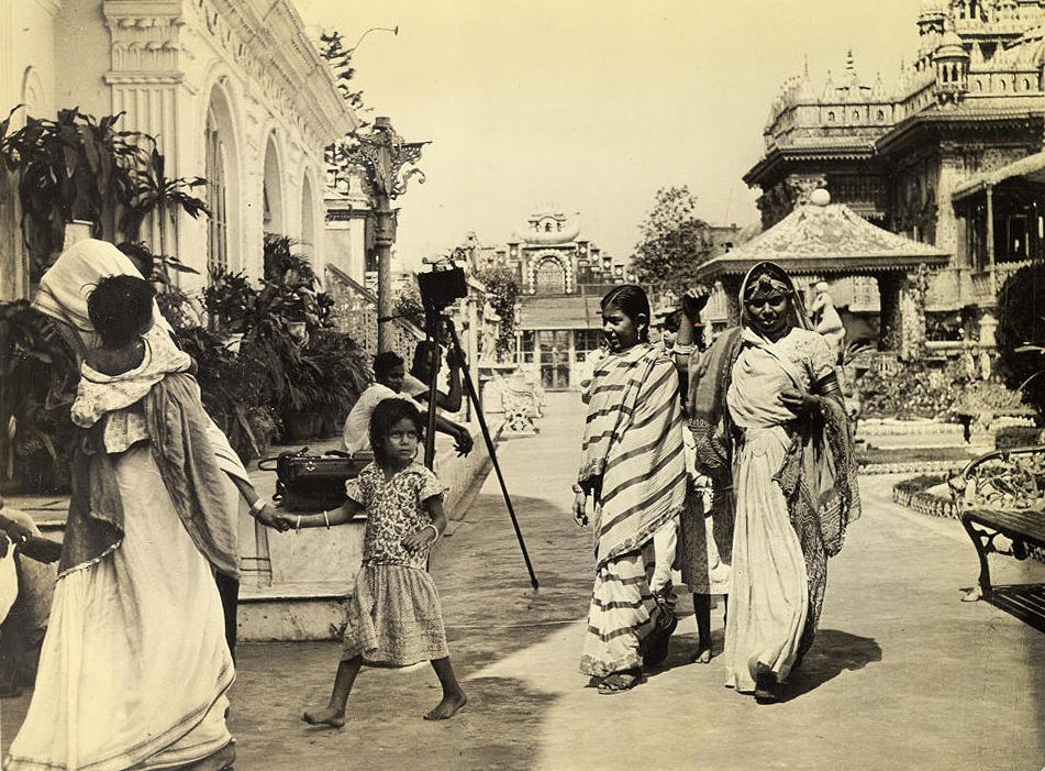 Indian women, dressed in the native Saree