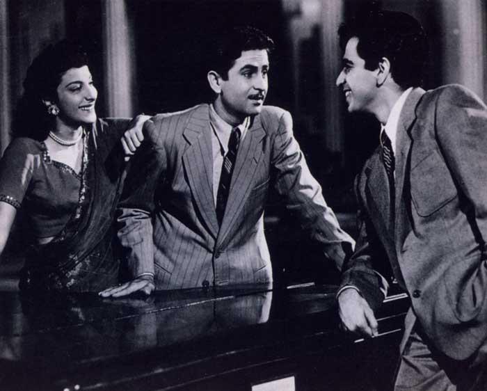 Nargis, Raj Kapoor, and Dilip Kumar, in scene from Andaz - 1949