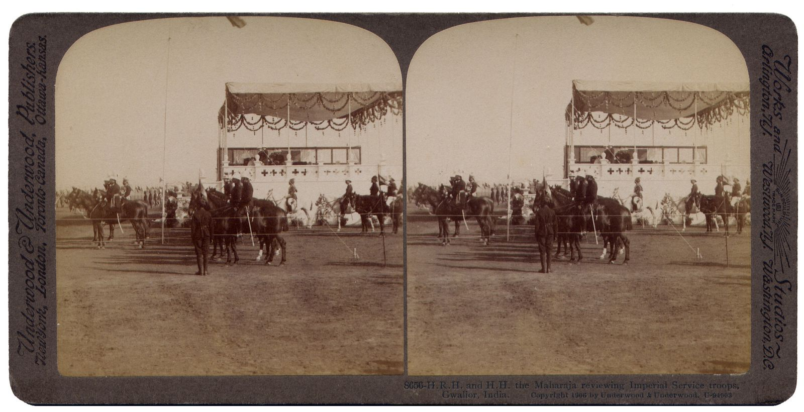 The Maharaja reviewing Imperial Service troops, Gwalior India