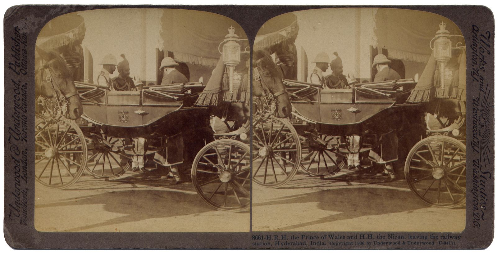 The Prince of Wales and the Nizam, leaving the railway station Hyderabad India
