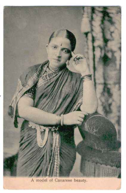 Postcard of Vintage Indian Model in Saree