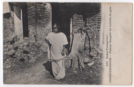 French Postcard of Indian Woman - Chandannagar Bengal
