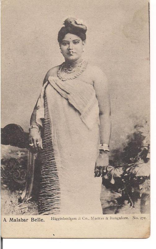 Postcard of  Malabar Woman with Ornaments - India