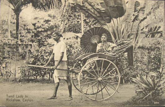 Tamil Lady in Rickshaw Post Card - Ceylon 1910s