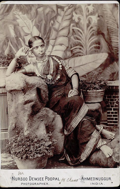 Vintage Portrait of Dancing Girl in Costume with Ornaments - Ahmednuggur India