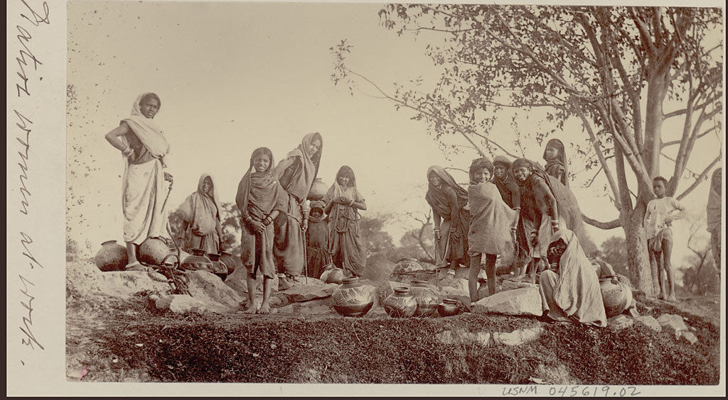 Vintage Photograph of Indian Women and Girls Drawing Water