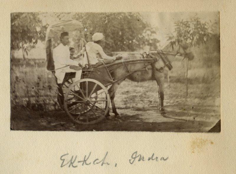 Indian Man and his Child Riding Ekka (Horse Cart) - 1880's